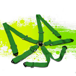 Nrg Sbh 6pcgn 6 point Steel Camlock Buckle Racing Seat Belt Safety Harness Green