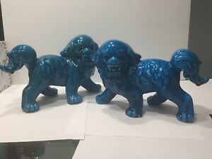 Vintage Pair Set Turquoise Blue Glazed Chinese Foo Dogs Statues Sculptures 11