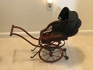 Rare Antique Pram Doll Baby Carriage Buggy For The Collector Or Lucky Child