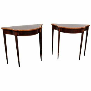 Rare Pair 35 Inch Wide Sheraton Banded Satinwood Mahogany Console Tables