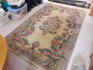 Antique Vintage Anatolian Turkish Wool 6x9 Area Rug Hand Knotted