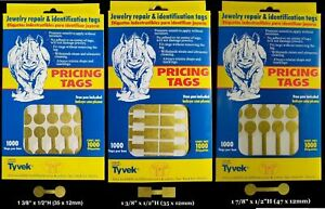 1000 Rhino Tyvek Gold Adhesive Dumbbell Jewelry Labeling Price Tags 3 Styles