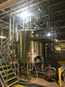 2000 Gallon Stainless Steel Sanitary Mix Tank Dish Top And Cone Bottom