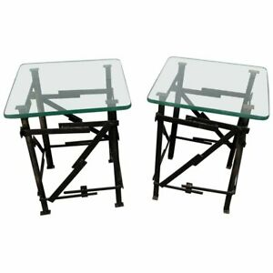 Pair Of Industrial Style Side Tables