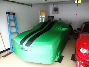 Satin Stretch Green W Black Stripes Car Cover For 2013 2014 Ford Mustang Coupe