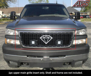 Fits 2005 2006 Chevy Silverado 1500 2500 3500 Stainless Black Mesh Led Grille