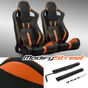 2 X Black Orange Strip Pvc Leather Left Right Sport Racing Bucket Seats Slider