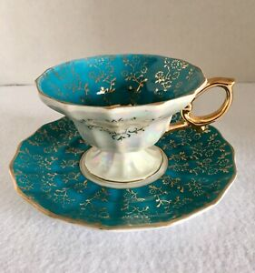 Vintage Royal Sealy Fine China Cup Saucer Japan Teal Pearl Luster Gold Trim