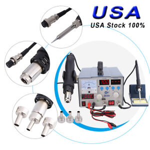 3 In1 863d Soldering Iron Rework Station Hot Air Gun Tip 3 Nozzles Heat Gun 800w