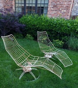 Pair Mid Century Modern Original Homecrest Reclining Patio Yard Chairs