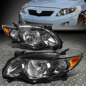 For 09 10 Toyota Corolla Black Housing Amber Corner Headlight Replacement Lamps
