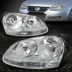 For 05 10 Volkswagen Vw Jetta Rabbit Chrome Housing Headlight Replacement Lamps