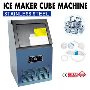 50kg Automatic Commercial Ice Maker Cube Machine Stainless Steel Bar 110lbs Usa