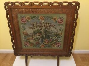 Vintage Wood Glass Top Folding Card Table Or Fireplace Cover With Tapestry Art