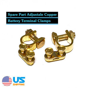 Pair Car Battery Terminal Connector Clamp Boat Ship Van Heavy Duty Brass Plating