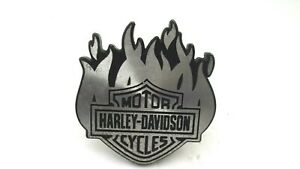 Harley Davidson Black Silver Trailer Hitch Cover Plug Flames 5 X 5 5