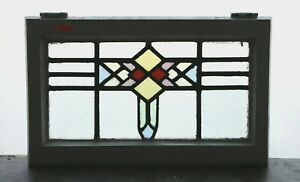 Antique Stained Glass Window Five Colors Of Glass Art Deco Diamonds