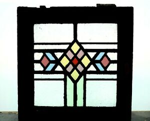 Antique Stained Glass Window Six Colors Art Deco Diamond Design 4437