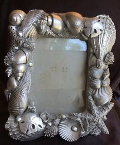 Vtg Gorgeous Silver Seashell Picture Frame By Fancy Frames 9 1 2 X 8 1 2 Euc