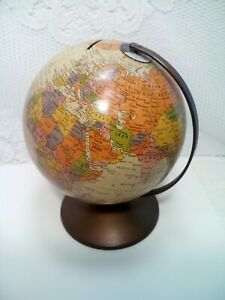 The Revere By Replogle Vintage 6 Tin Litho World Globe W Copper Hanger Base
