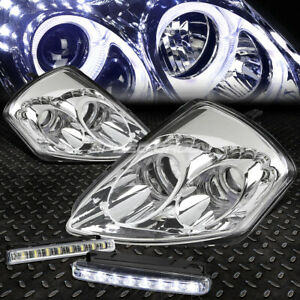 Chrome Housing Dual Halo Projector led Headlight fog Light For 00 05 Mit Eclipse