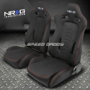 Nrg Fabric Canvas Red Stitches Fully Reclinable Racing Seats Adjustable Sliders