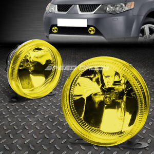 3 5 Yellow Amber Glass Lens Round Universal Fog Light Lamp W Built In Bulbs Suv