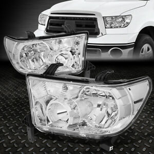 For 07 13 Toyota Tundra 08 17 Sequoia Chrome Housing Clear Corner Headlight Lamp