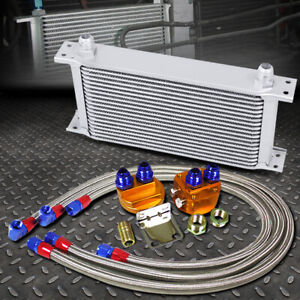 Silver 19 Row 10an Engine transmission Oil Cooler W silver Filter Relocation Kit