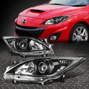 For 10 13 Mazda 3 Pair Black Housing Clear Corner Projector Headlight Head Lamp