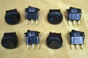8 Lighted Blue Round Rocker Switches Spst On off 12vdc Lamp 16 Amps At 12vdc