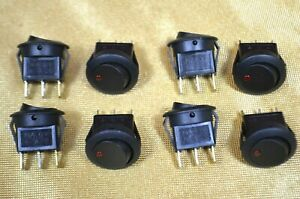 8 Lighted Red Round Rocker Switches Spst On off 12vdc Lamp 16 Amps At 12vdc