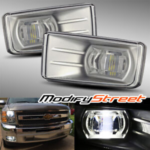For 07 13 Chevy Avalanche Silverado Hi Power Led Projector Fog Lights Lamps Kit