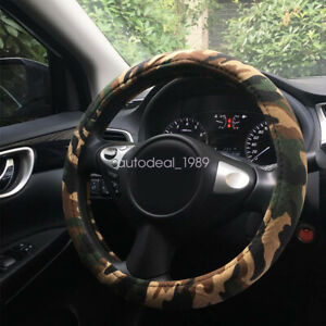 Automotive Camo Camouflage Canvas No Sweat Car Steering Wheel Cover 15 38cm