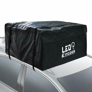 Roof Cargo Bag 15 Cubic Feet Waterproof With 2 Straps For All Cars W o Roof Rack