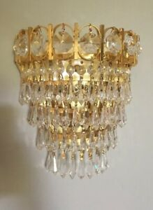 Wall Sconce Crystal Prisms Soft Gold Light Crystals