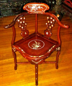 Antique Vintage Art Deco Chair Chinese Cherry Blossom Rosewood Pearl Mop