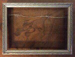 Antique Arts Crafts Picture Frame Carved And Silver Gilt For Oil Painting Wood