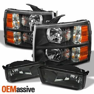 For 2007 2013 2014 Silverado 1500 2500hd 3500hd Black Headlight smoke Fog Lamp