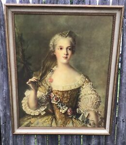 Lg Framed Picture Vtg Victorian Lady Puffy Dress Flowers Print Shabby Chic Decor