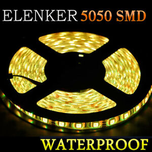 5m 300 Smd Yellow 5050 Waterproof Soft Led Strip Light 12v For Home Kitchen Deco