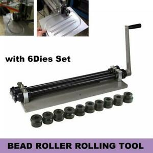 Bead Roller Rolling Tool Sheet Metal Steel Gear Drive Rotary Machine W 6dies Set