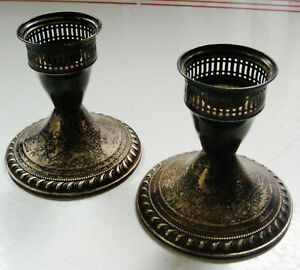 Pr Vintage Weighted Sterling Silver Duchin Creations Candle Holders Need Polish
