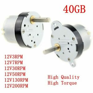 40mm 12v Dc 3rpm 200rpm High Torque Gear Box Motor Reducer Reversible 40gb New
