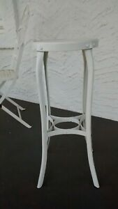 Vintage Drafting Industrial Stool White Distressed Bar Height Or Plant Stand