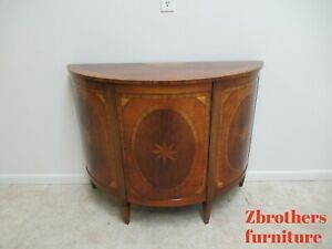 Trosby England Inlay Banded Demi Lune Server Sideboard Buffet Console English