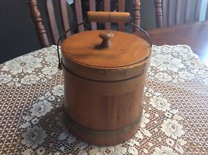 Vintage Wood Firkin Bucket With Lid Small With Metal Band And Swing Handle
