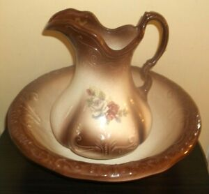 Vintage Brown With Roses Pitcher Wash Bowl Set Marked Ironstone England 1890
