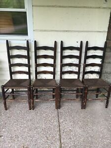 4 Vintage Ladder Back Rush Seat 4 Slat Chair Chairs Primitive Rustic