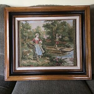 Antique Framed Tapestry Victorian Couple Man In Skiff Talking To Woman On Shore